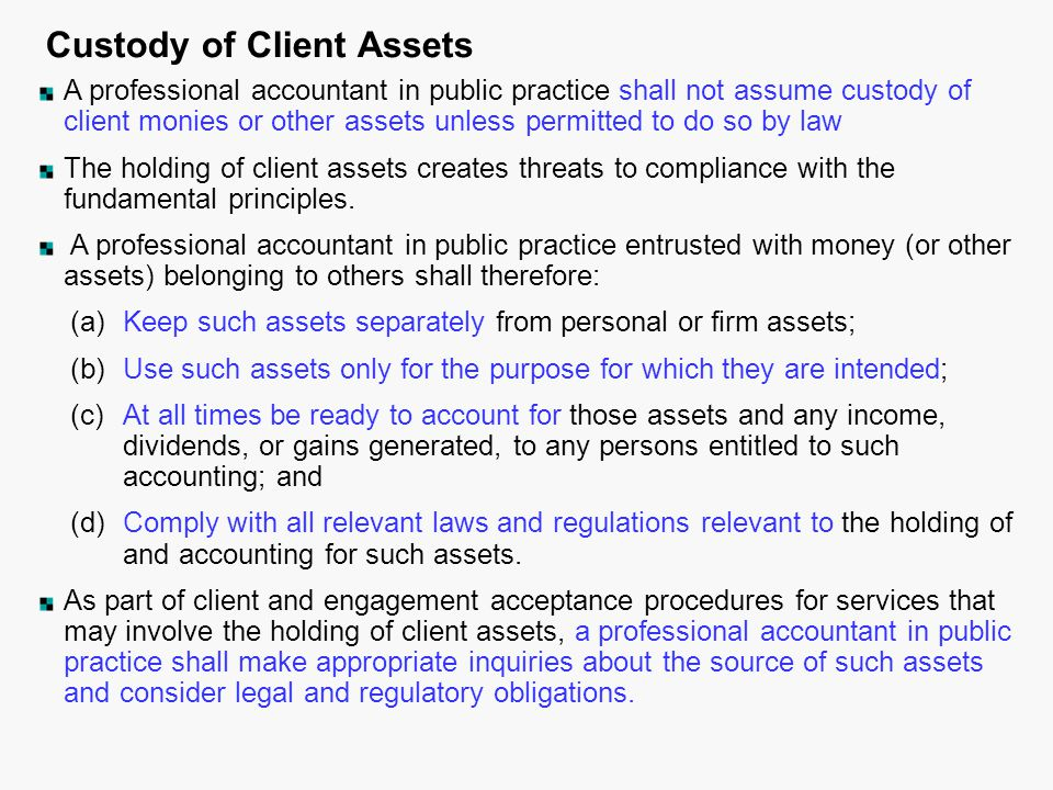 Custody of Client Assets