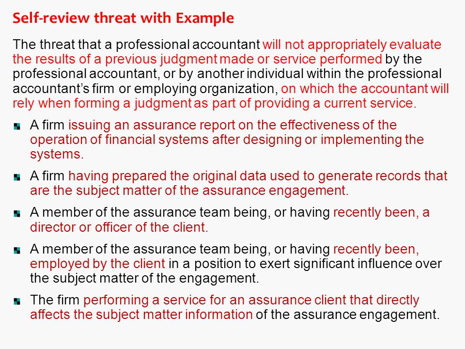 Self-review threat with Example