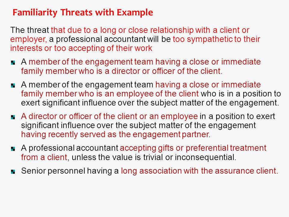 Familiarity Threats with Example