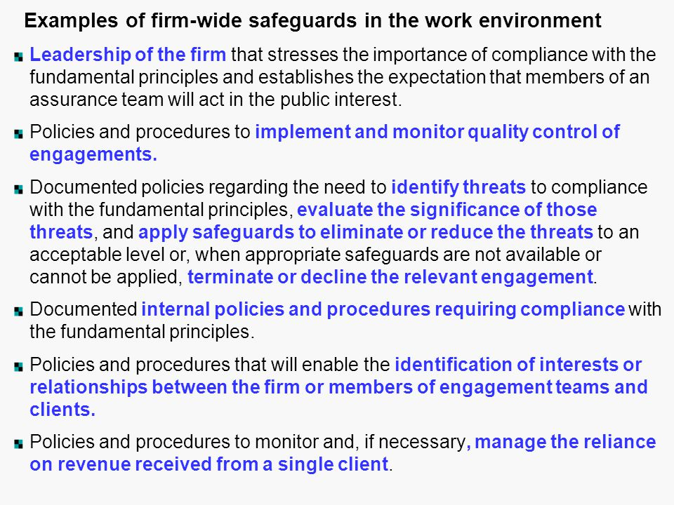 Examples of firm-wide safeguards in the work environment