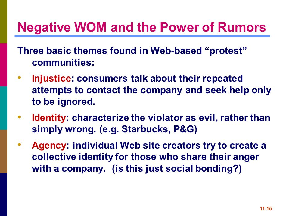 Negative WOM and the Power of Rumors