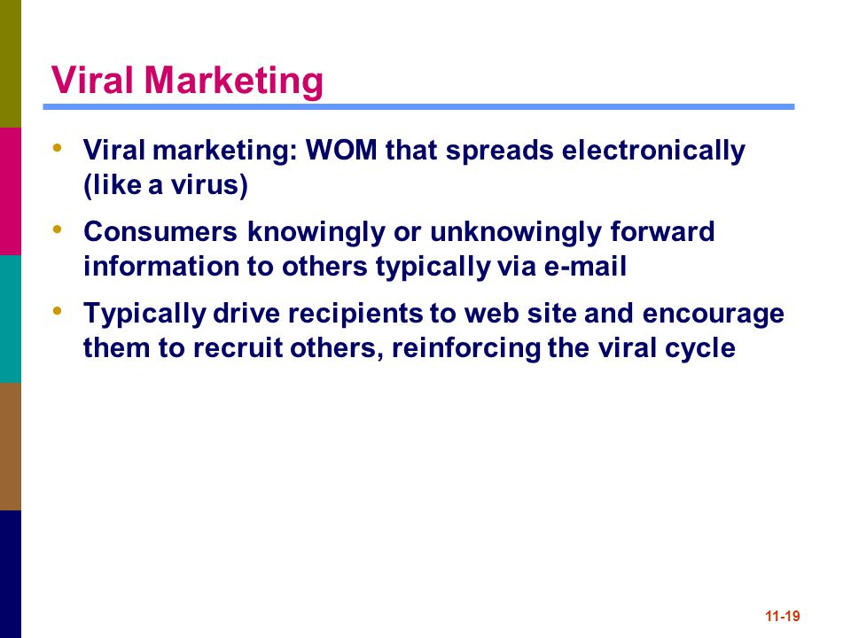 Viral Marketing Viral marketing: WOM that spreads electronically (like a virus)