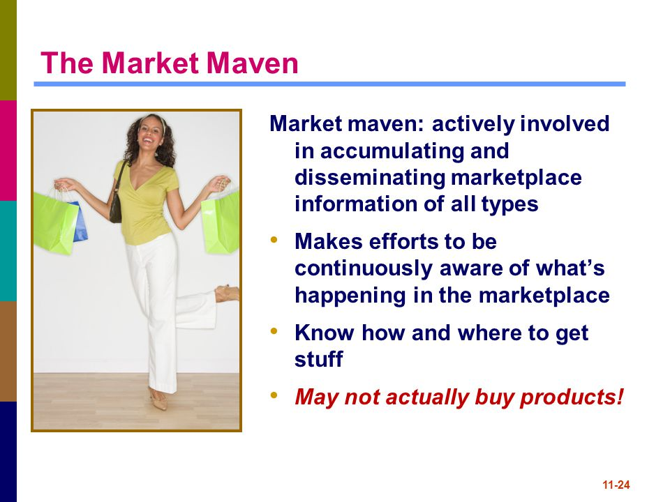 The Market Maven Market maven: actively involved in accumulating and disseminating marketplace information of all types.