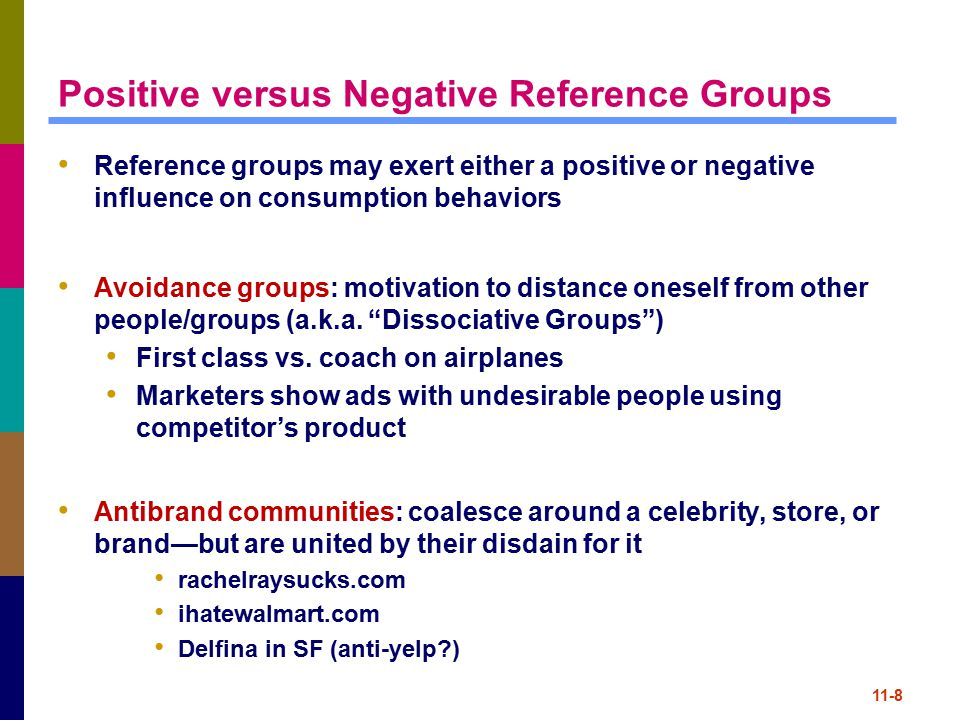 Positive versus Negative Reference Groups