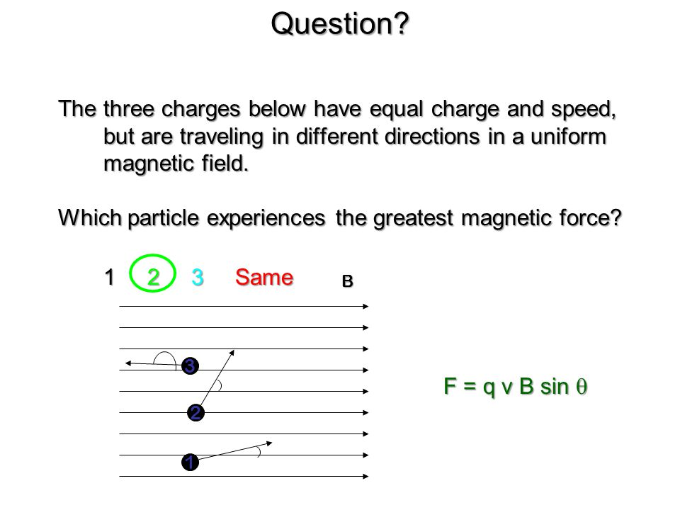 Question The three charges below have equal charge and speed, but are traveling in different directions in a uniform magnetic field.