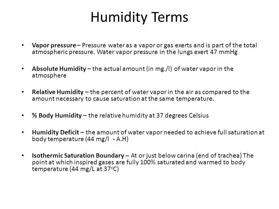 Humidity Terms