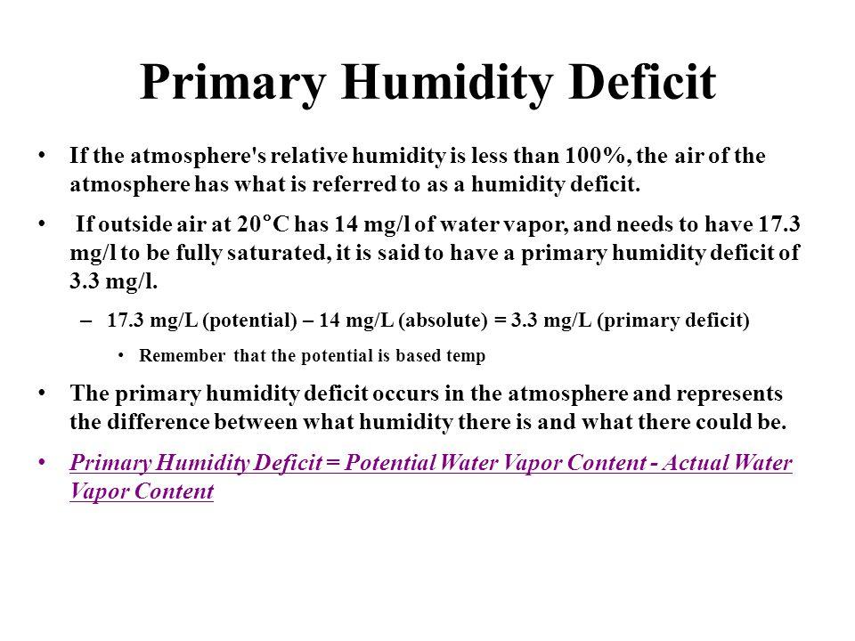 Primary Humidity Deficit