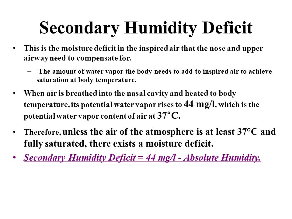 Secondary Humidity Deficit