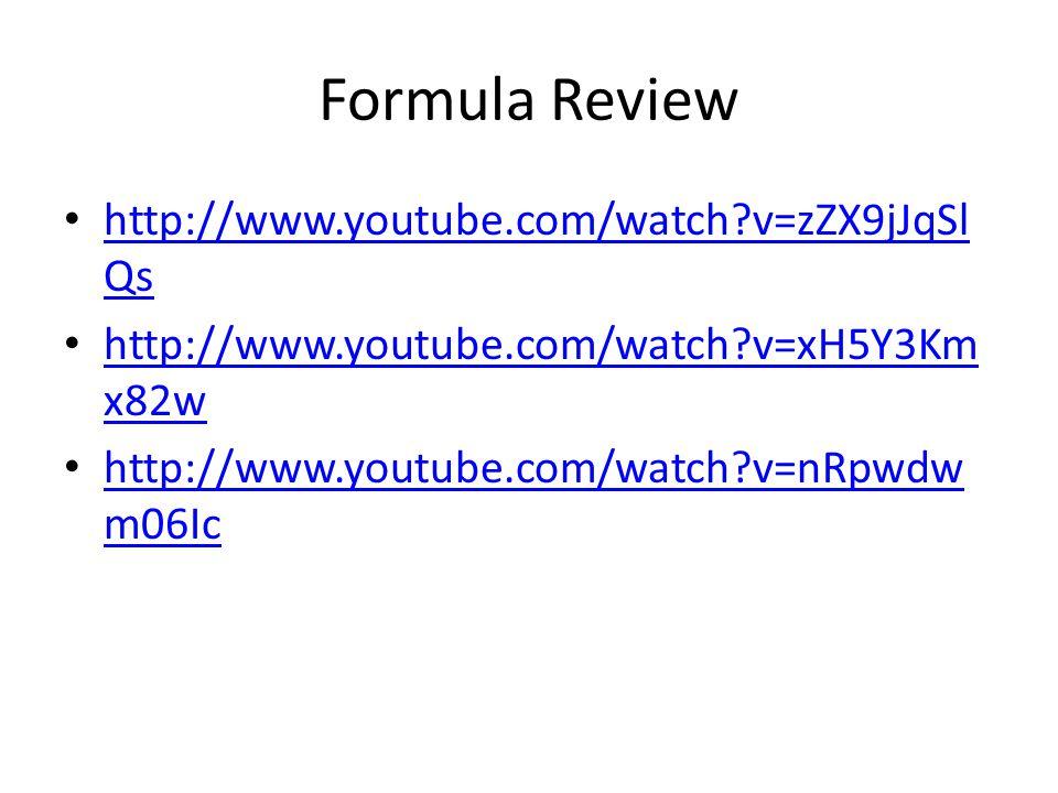 Formula Review http://www.youtube.com/watch v=zZX9jJqSlQs