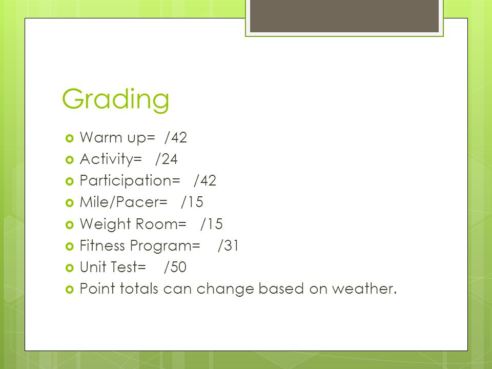 Grading Warm up= /42 Activity= /24 Participation= /42 Mile/Pacer= /15