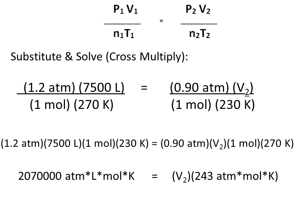 (1.2 atm) (7500 L) = (0.90 atm) (V2) (1 mol) (270 K) (1 mol) (230 K)