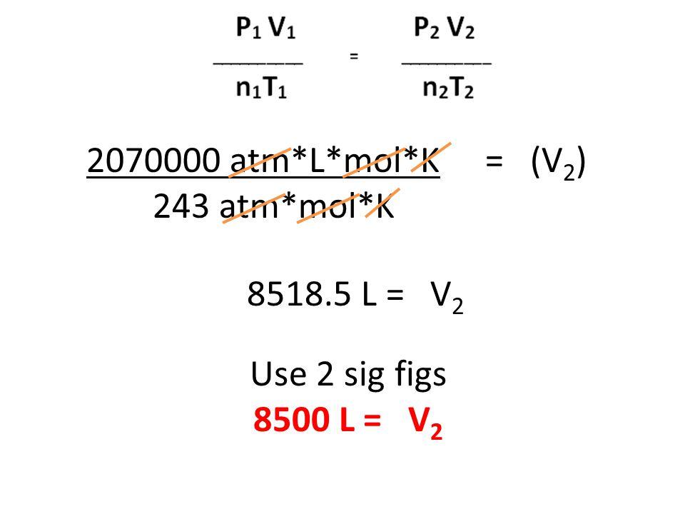 2070000 atm*L*mol*K = (V2) 243 atm*mol*K 8518.5 L = V2 Use 2 sig figs