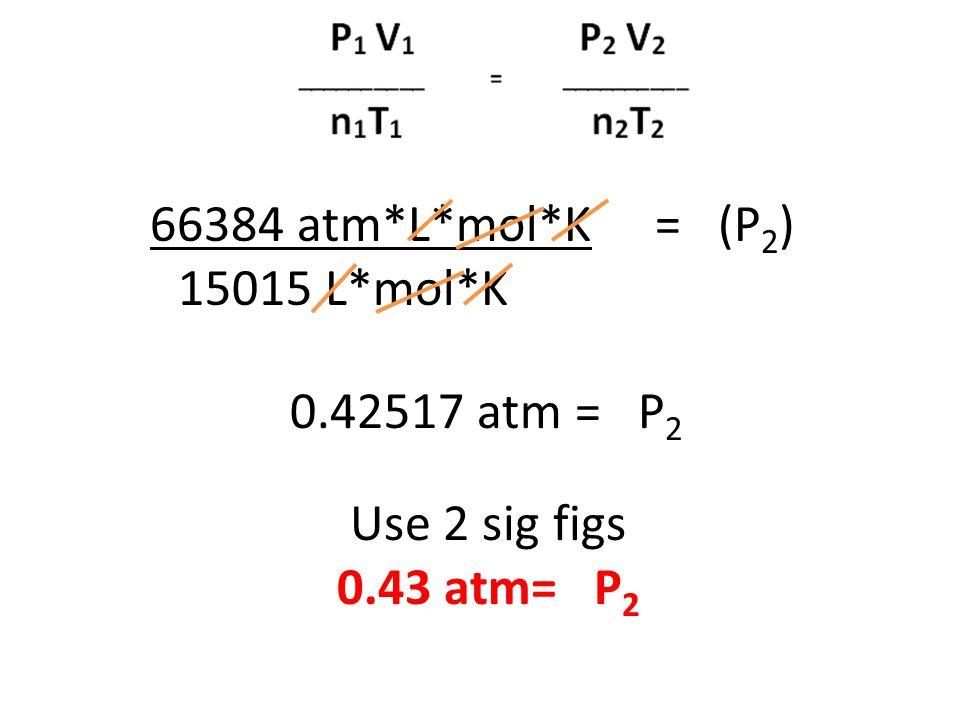 66384 atm*L*mol*K = (P2) 15015 L*mol*K 0.42517 atm = P2 Use 2 sig figs