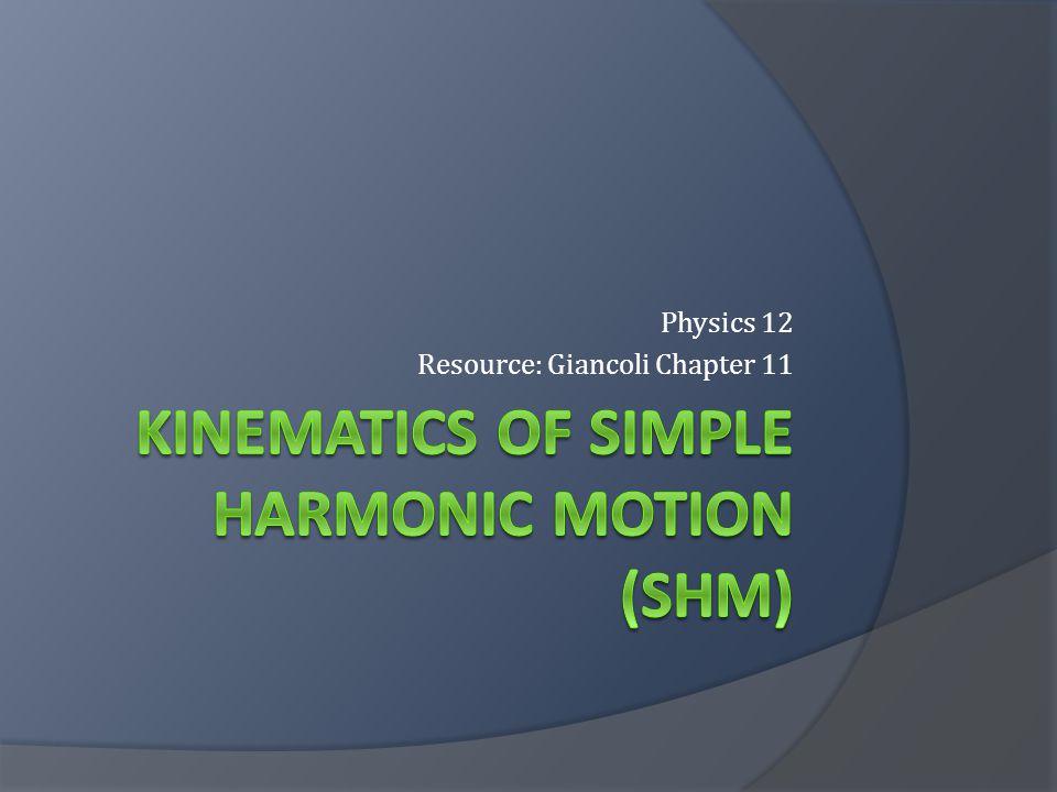 Kinematics of simple harmonic motion (SHM)