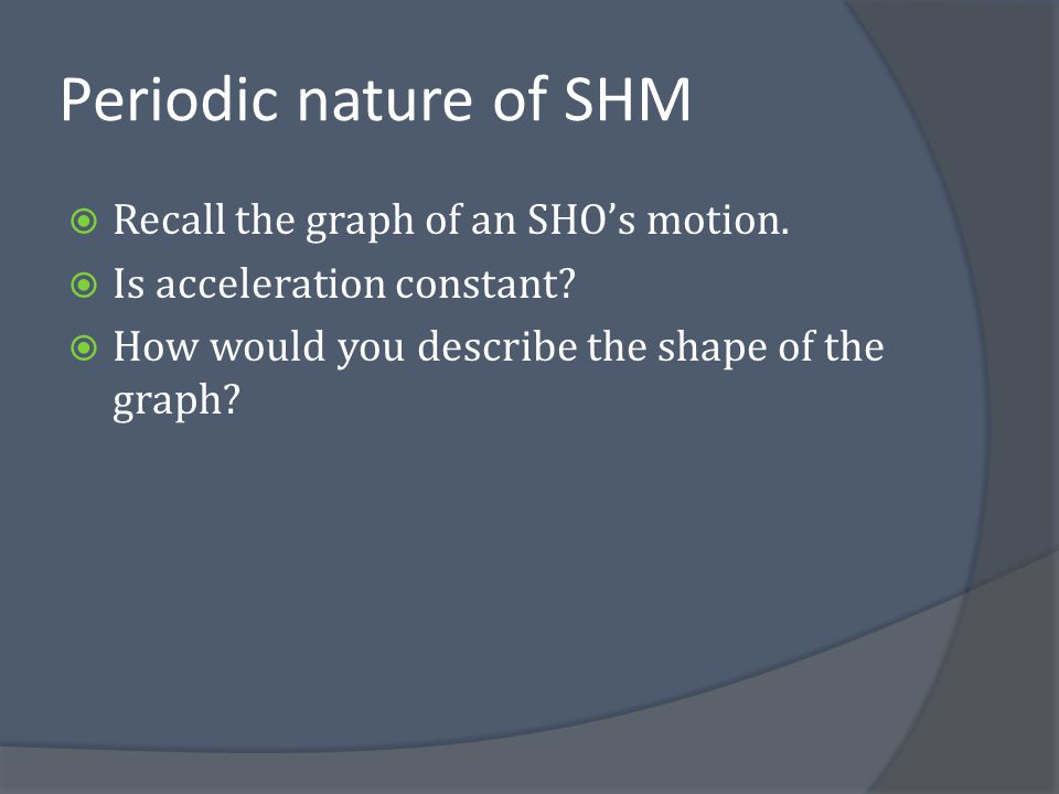 Periodic nature of SHM Recall the graph of an SHO's motion.