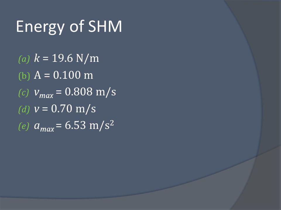 Energy of SHM k = 19.6 N/m A = 0.100 m vmax = 0.808 m/s v = 0.70 m/s