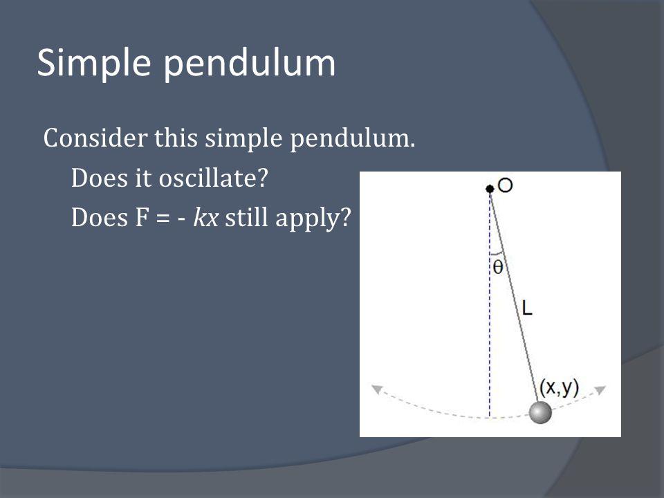 Simple pendulum Consider this simple pendulum. Does it oscillate Does F = - kx still apply