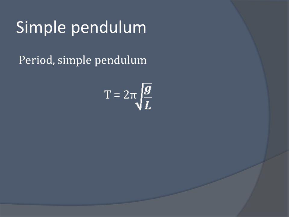 Simple pendulum Period, simple pendulum T = 2π