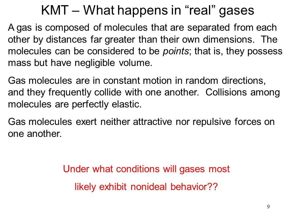 KMT – What happens in real gases