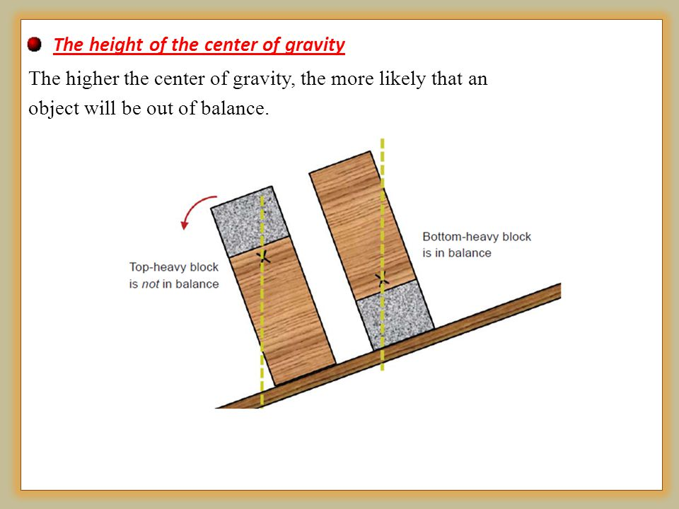 The height of the center of gravity