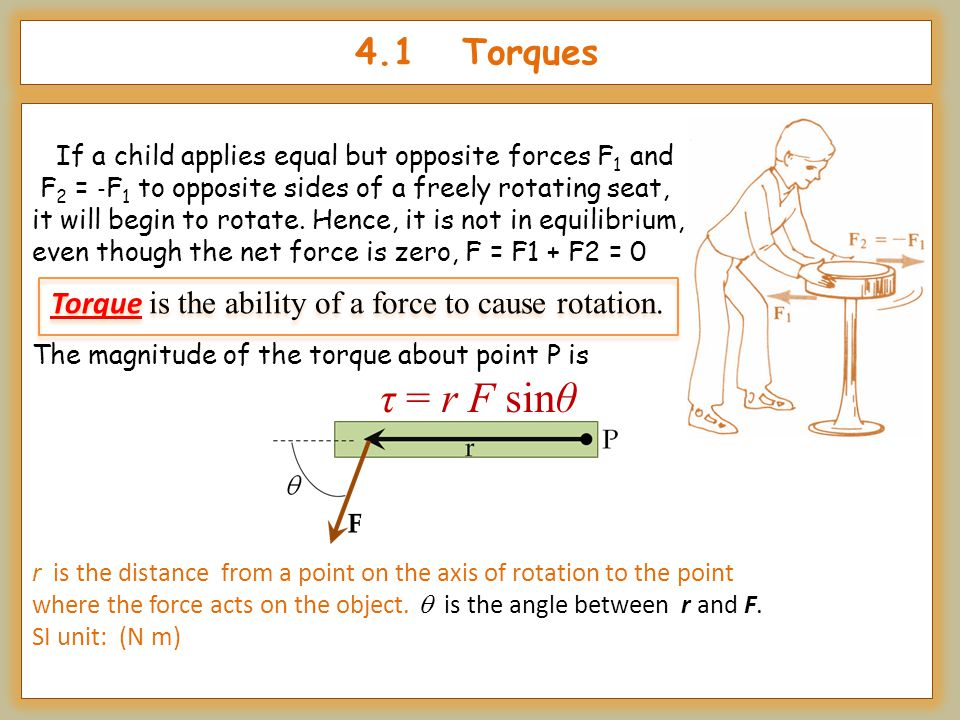 4.1 Torques If a child applies equal but opposite forces F1 and. F2 = ‐F1 to opposite sides of a freely rotating seat,