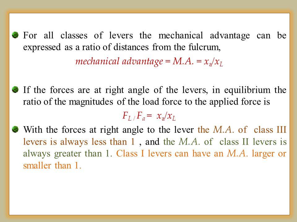 mechanical advantage = M.A. = xa/xL