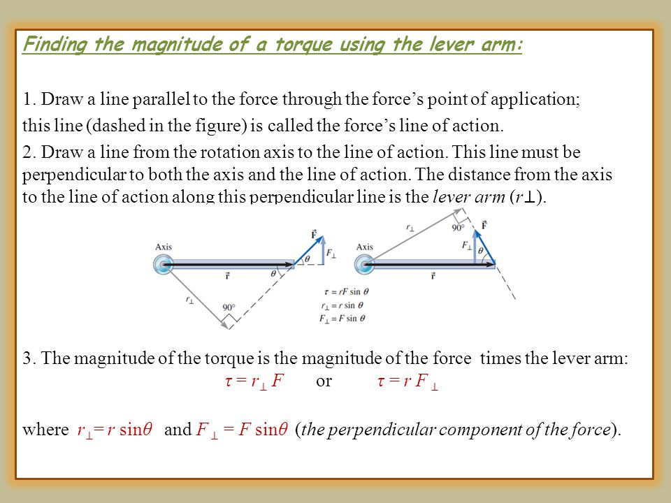 Finding the magnitude of a torque using the lever arm: 1