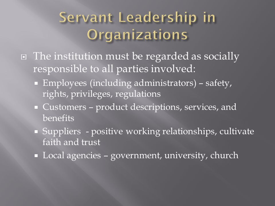 Servant Leadership in Organizations