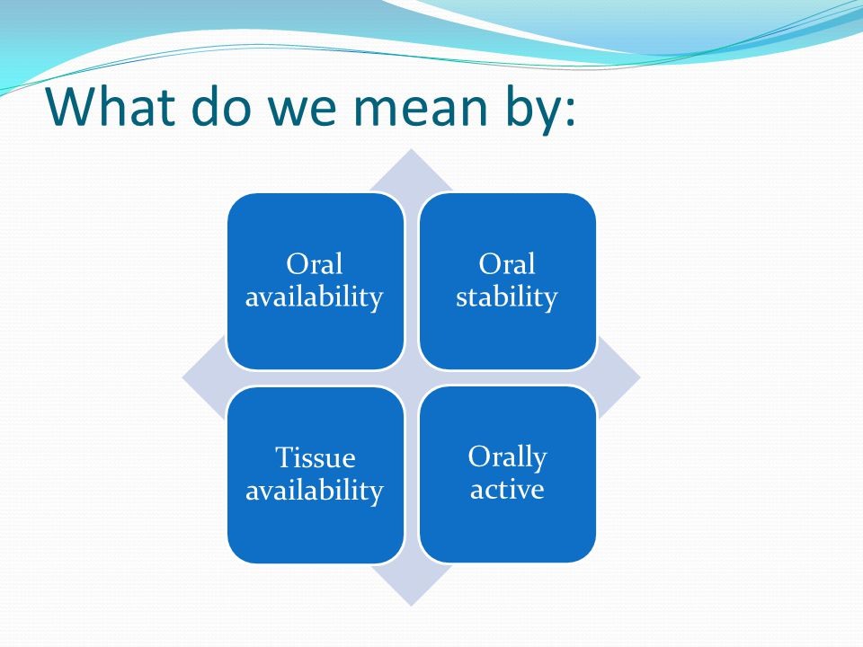 What do we mean by: Oral availability Oral stability