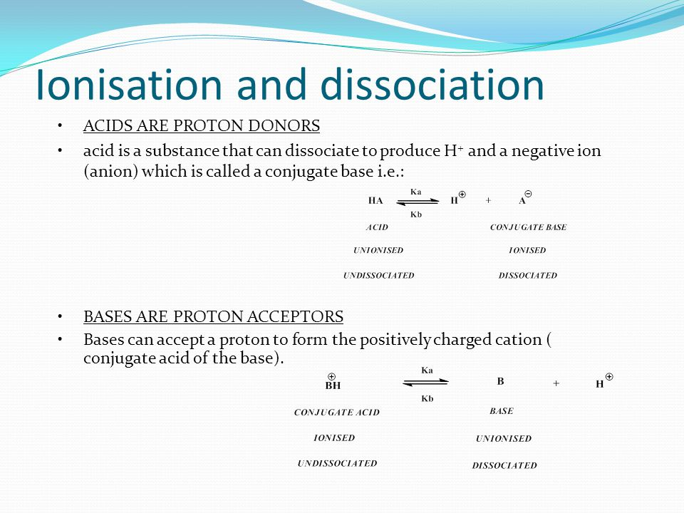 Ionisation and dissociation