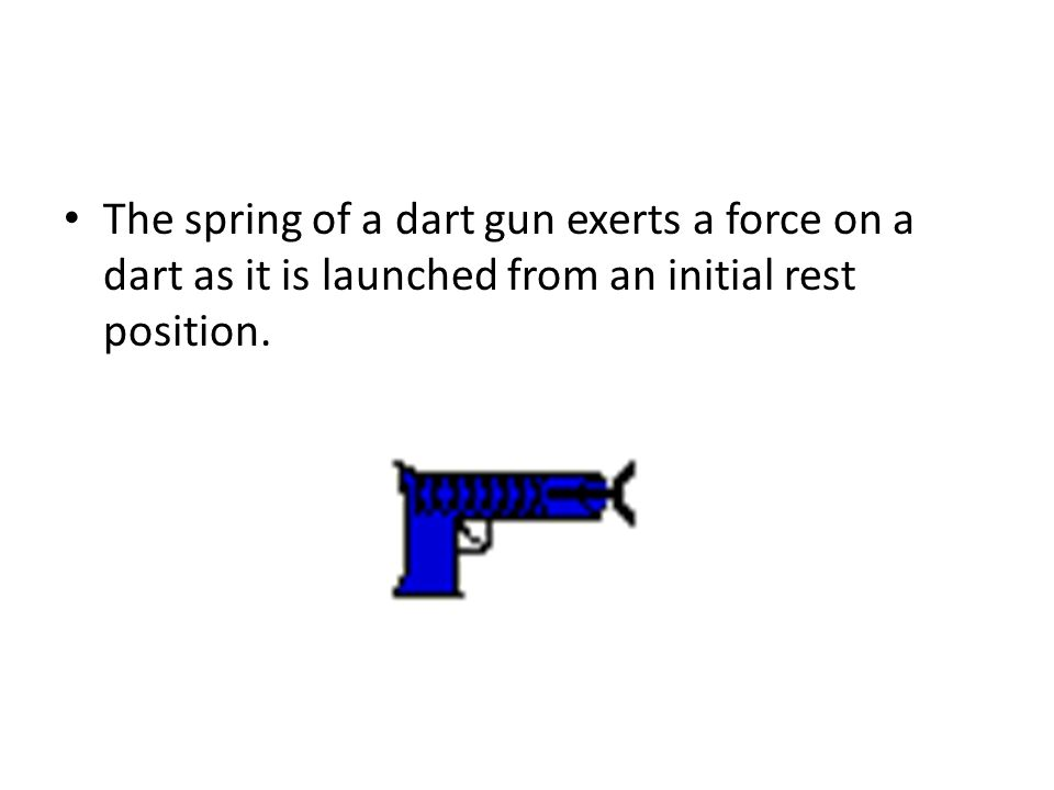 The spring of a dart gun exerts a force on a dart as it is launched from an initial rest position.