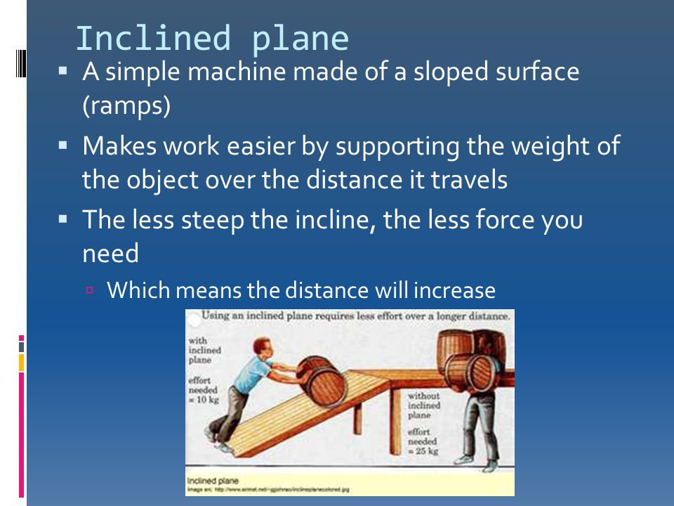 Inclined plane A simple machine made of a sloped surface (ramps)