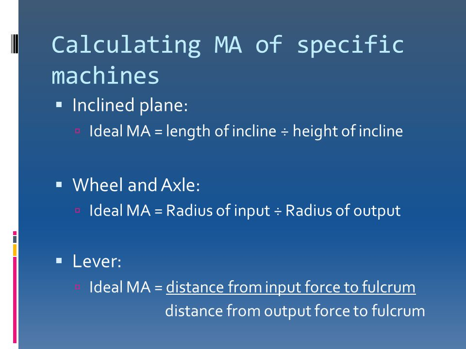 Calculating MA of specific machines