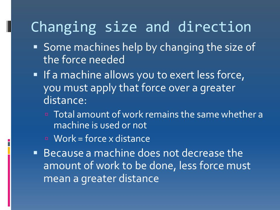 Changing size and direction