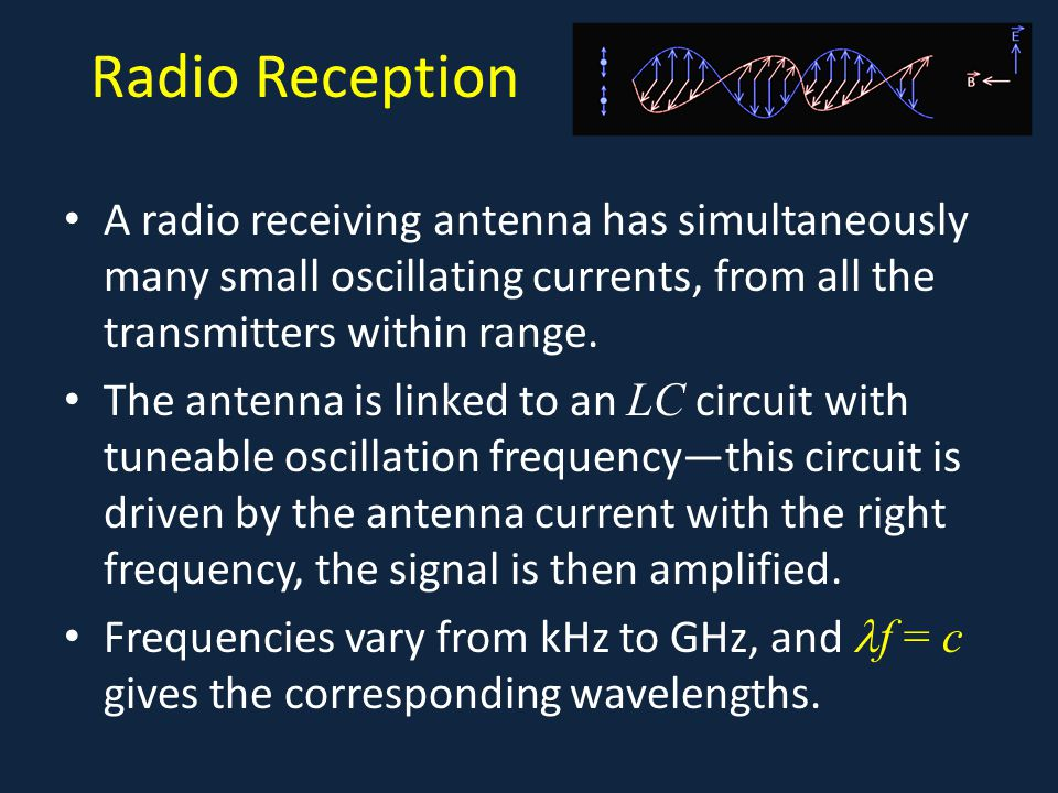 Radio Reception A radio receiving antenna has simultaneously many small oscillating currents, from all the transmitters within range.