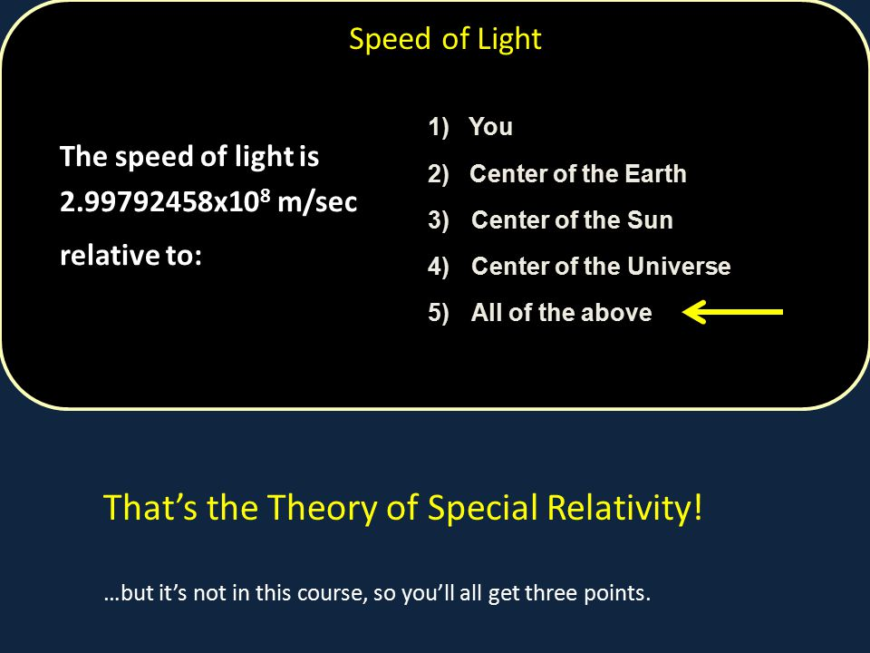 That's the Theory of Special Relativity!