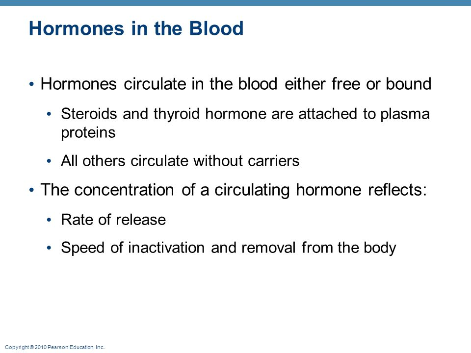 Hormones in the Blood Hormones circulate in the blood either free or bound. Steroids and thyroid hormone are attached to plasma proteins.