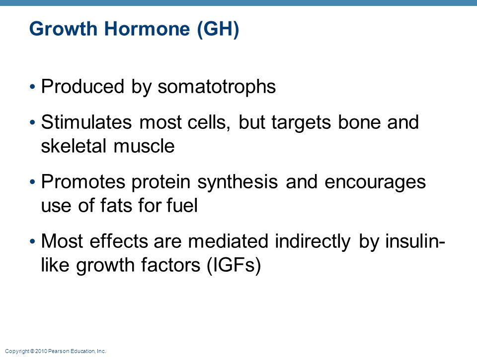 Growth Hormone (GH) Produced by somatotrophs. Stimulates most cells, but targets bone and skeletal muscle.