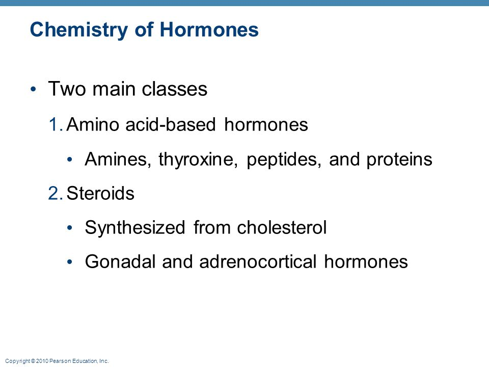 Chemistry of Hormones Two main classes 1. Amino acid-based hormones