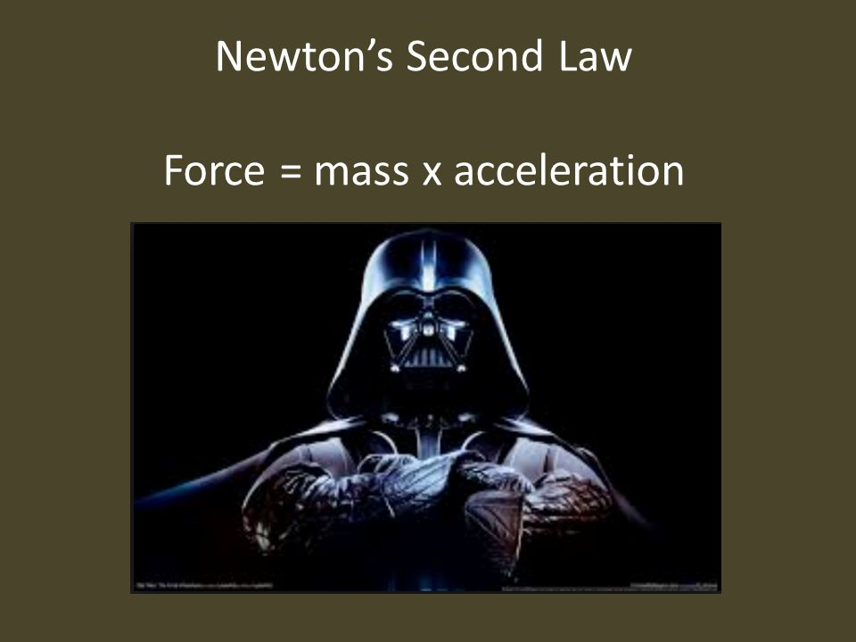 Newton's Second Law Force = mass x acceleration