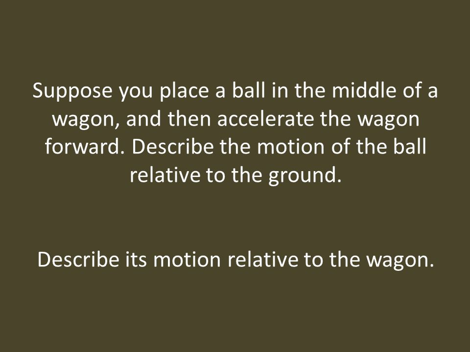 Describe its motion relative to the wagon.