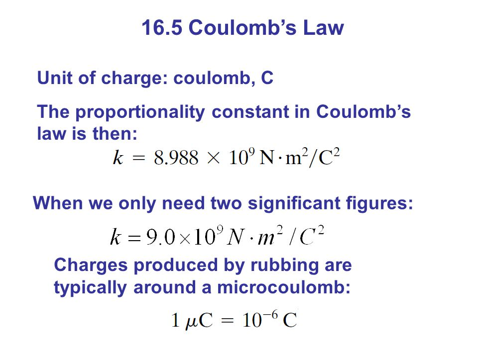 16.5 Coulomb's Law Unit of charge: coulomb, C