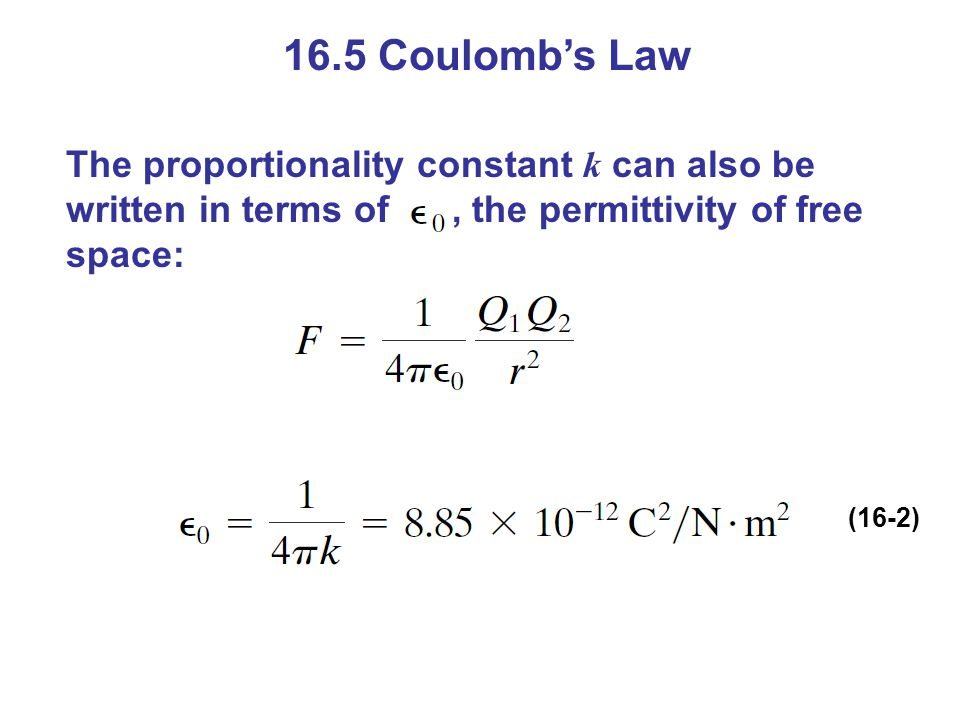 16.5 Coulomb's Law The proportionality constant k can also be written in terms of , the permittivity of free space: