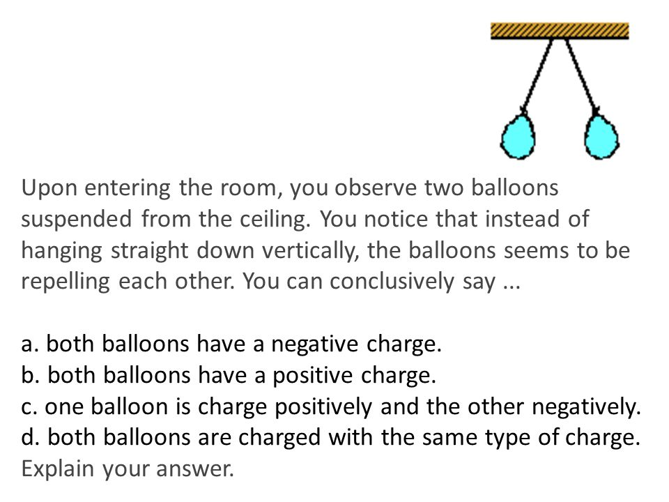 Upon entering the room, you observe two balloons suspended from the ceiling. You notice that instead of hanging straight down vertically, the balloons seems to be repelling each other. You can conclusively say ...