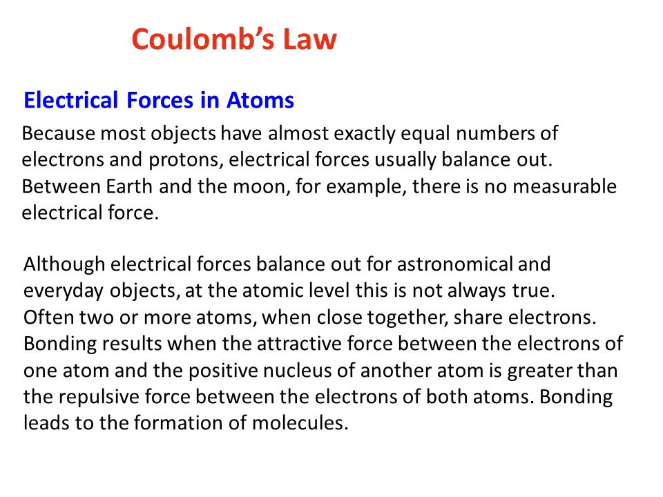 Coulomb's Law Electrical Forces in Atoms