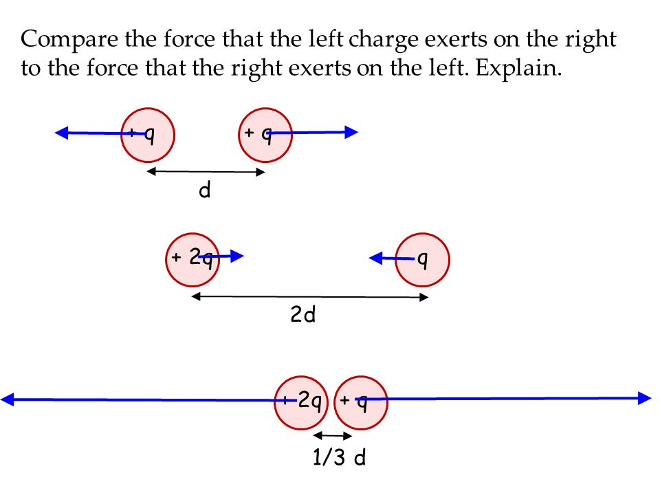Compare the force that the left charge exerts on the right to the force that the right exerts on the left. Explain.