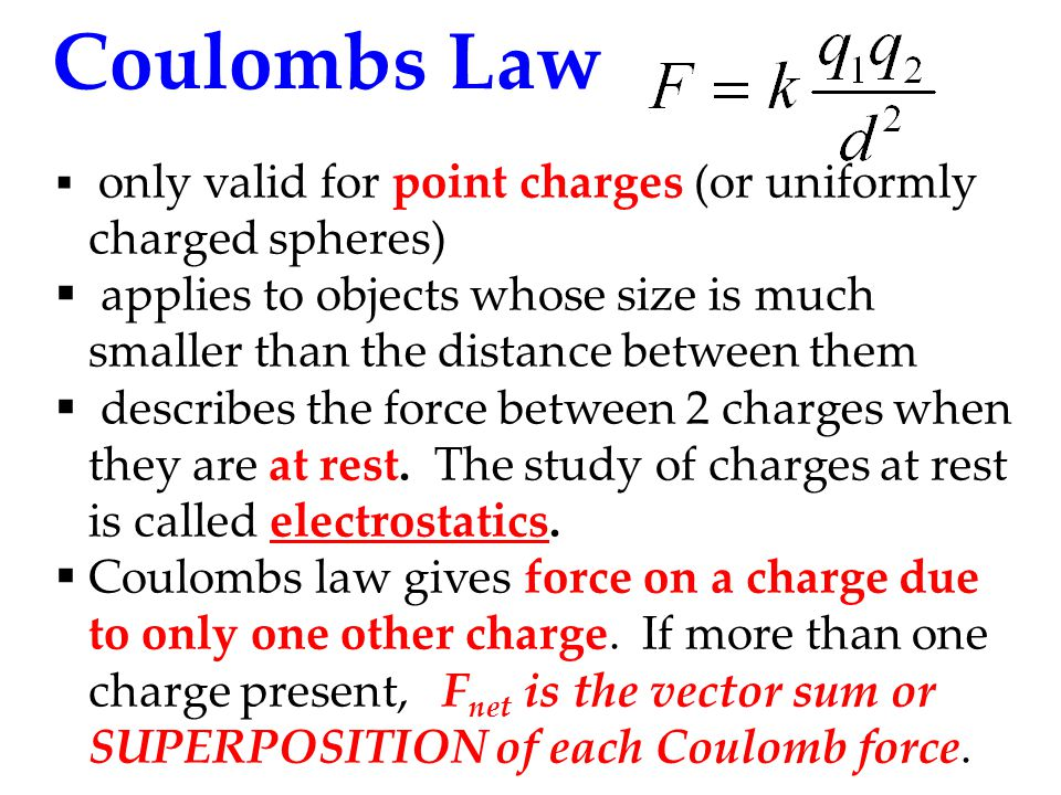 Coulombs Law only valid for point charges (or uniformly charged spheres)