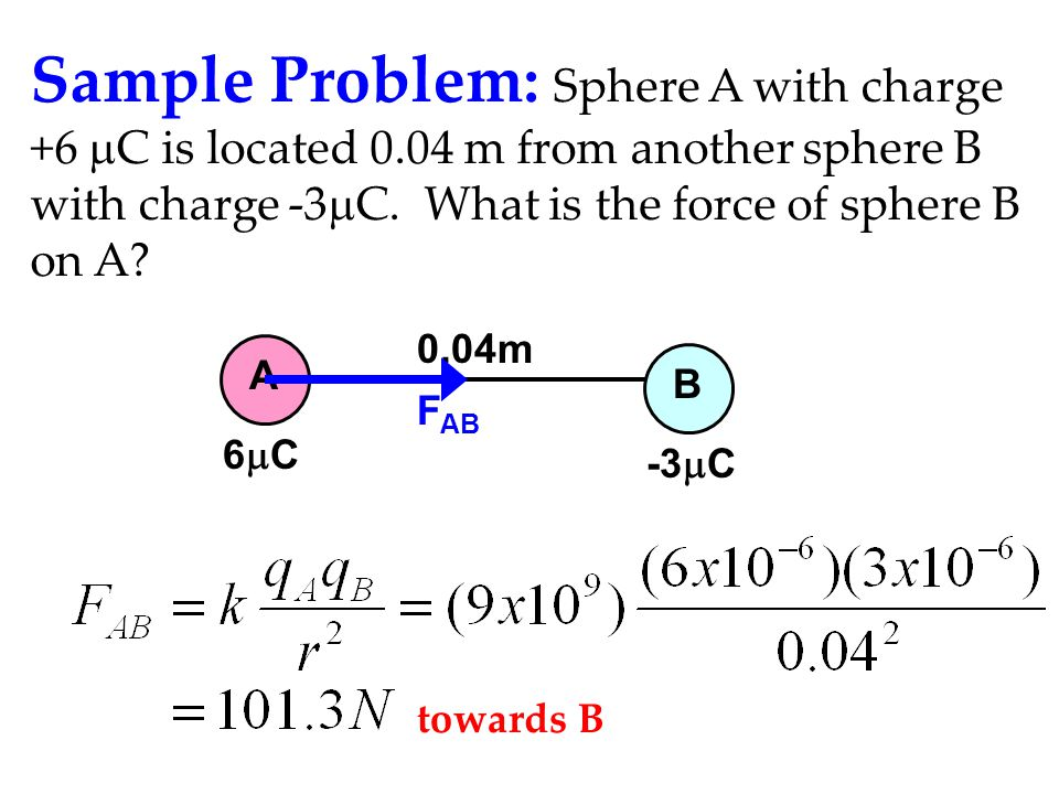 Sample Problem: Sphere A with charge +6 mC is located 0