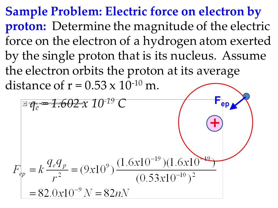 Sample Problem: Electric force on electron by proton: Determine the magnitude of the electric force on the electron of a hydrogen atom exerted by the single proton that is its nucleus. Assume the electron orbits the proton at its average distance of r = 0.53 x 10-10 m.