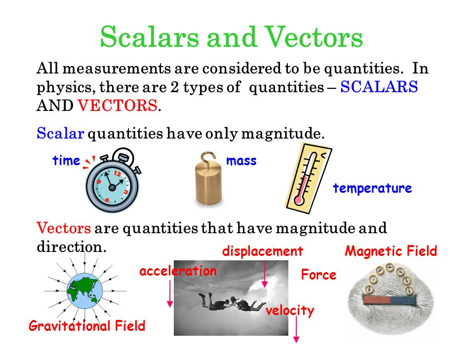 Scalars and Vectors All measurements are considered to be quantities. In physics, there are 2 types of quantities – SCALARS AND VECTORS.